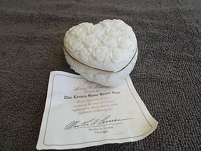 lenox rose heart trinket or ring  box with paper