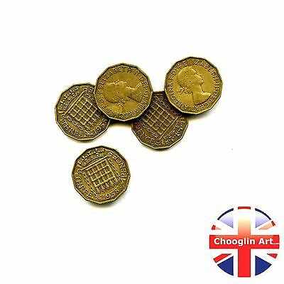 Collection of x5 1958 British Nickel Brass ELIZABETH II THREEPENCE Coins