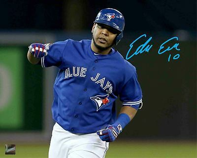 Edwin Encarnación - Signed 8x10 Toronto Blue Jays Blue Arm Pump Photo