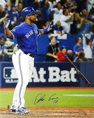 Edwin Encarnacion - Signed 16x20 Toronto Blue Jays Bat Flip Photo