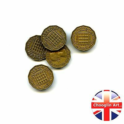 Collection of x5 1957 British Nickel Brass ELIZABETH II THREEPENCE Coins