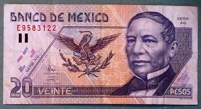 MEXICO 20  PESOS NOTE , P 106 c , issued 17.03.1998
