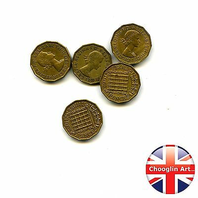 Collection of x5 1963 British Nickel Brass ELIZABETH II THREEPENCE Coins