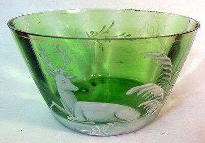 Antique Green Glass Bowl STAG Deer LONDON Enamel Painting