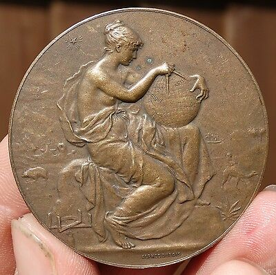 SUPERB !!! ART NOUVEAU  AE51mm MEDAL - FRENCH COLONIAL MEDAL