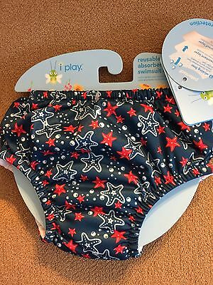 I Play Reusable Swim Suit Diaper-Blue Starfish W/Ruffle-6 Months-New