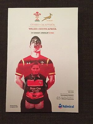 Wales v South Africa 2016 Under Armour Series, Rugby programme,Perfect Condition