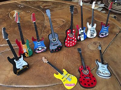 11 Assorted Collectible Mini Guitar Collection w/ stands Bali Indonesia