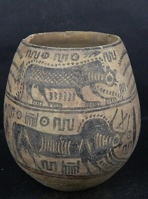 Ancient Large Size Teracotta Painted Pot With Lions Indus Valley 2500 BC  #Ik477