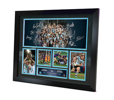 Cronulla Sharks Signed 2016 Photo Memorabilia Premiers Framed