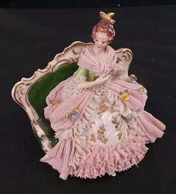 Antique Dresden Pink Lace Victorian Figurine