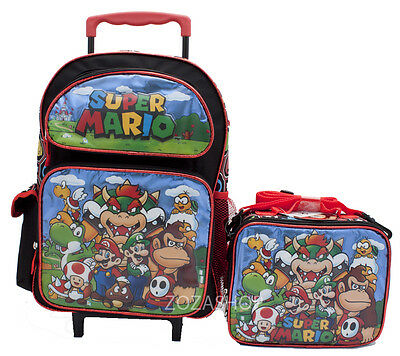 "Super Mario Bros. 16"" Large Roller Backpack & Lunch Bag 2pc Set"