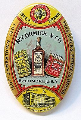 1907 McCORMICK BEE BRAND Tea Spices Extracts Drugs pocket mirror JAMESTOWN EXPO*
