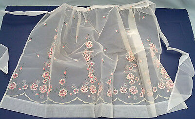 vintage handmade half apron white organdy with pink and white flower pattern