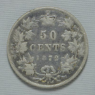 1872-H Canada Fifty Cents (50c) Cleaned Silver Canadian (cn3482)