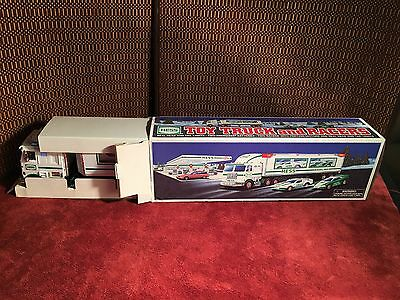 1997 HESS SEMI TRUCK AND TWO RACERS RACE CARS! Working lights ORIGINAL BOX