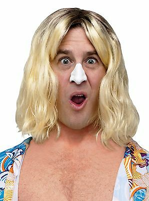 Mens Surfer Wig Blonde Hair Wavy Bro Hippy Hippie Costume Floppy Beach Bum Adult