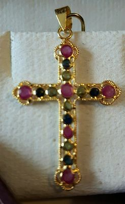 Stamped 18k Gold Cross Pendent Natural Rubies & Sapphires Gemstones w Appraisal