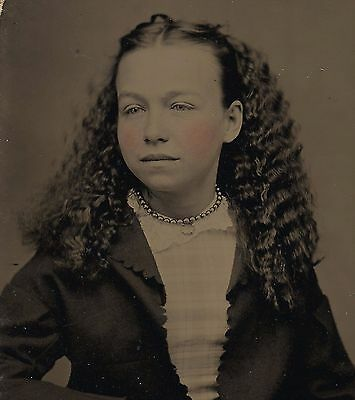 OLD VINTAGE ANTIQUE TINTYPE PHOTO of BEAUTIFUL YOUNG GIRL w/ HOMEMADE CLOTHES