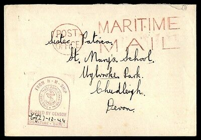 Maritime mail censored military cover to Devon free franked