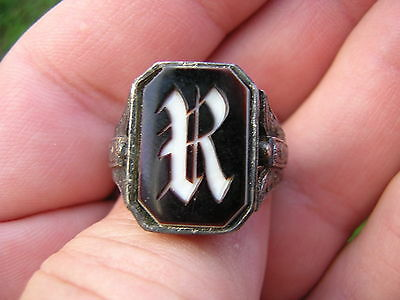 Ornate Antique Victorian Sterling Silver Cameo Letter R Stamp Wax Seal Ring
