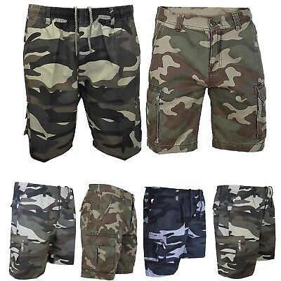 Mens Camouflage Army Military Shorts Cargo Combat Lightweight COTTON CHINO PANT