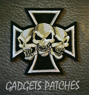 SKULLS CROSS Biker Motorcycle Vest Embroidered Patch Applique Badge Iron Sew On