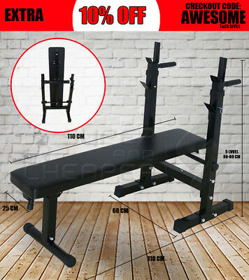 Gym Fitness Incline Decline Foldable Weight Bench Press Barbell Squat Rack