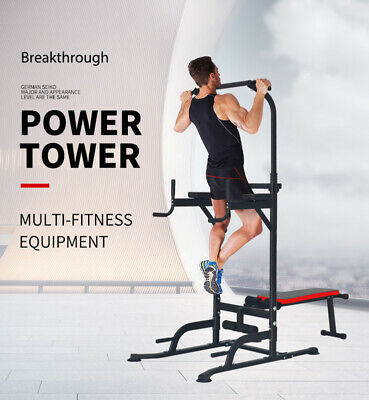 Home Gym Fitness Power Tower CHIN UP PUSH PULL KNEE RAISE  WEIGHT BENCH