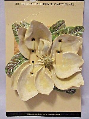 VICKILANE DESIGN Double Light Switch Plate Cover HAND PAINTED MAGNOLIA BLOSSOM