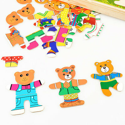 Wooden Baby Bear Changing Clothes Puzzle Set Children Kids Educational Toy Gifts