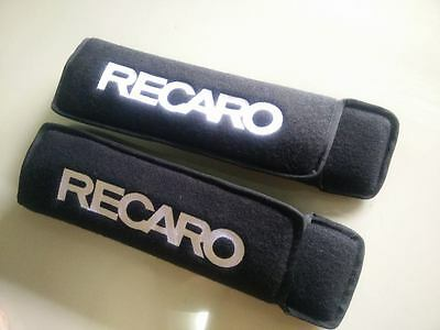 RECARO Embroidered Seat Belt Shoulder Black Cover Pads.