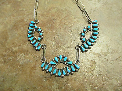 "19""  Zuni Sterling Silver PETIT POINT Turquoise Necklace"