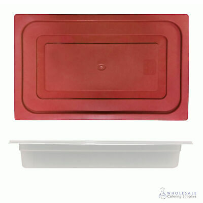 12x Food Pan with Red Lid 1/1 GN 65mm Full Size Polypropylene Gastronorm