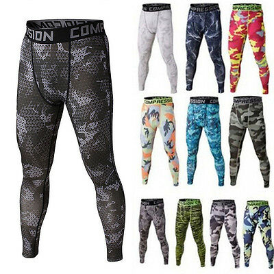 Mens Sports Athletic Tights Gym Compression Pants Gym Jogging Running Trousers