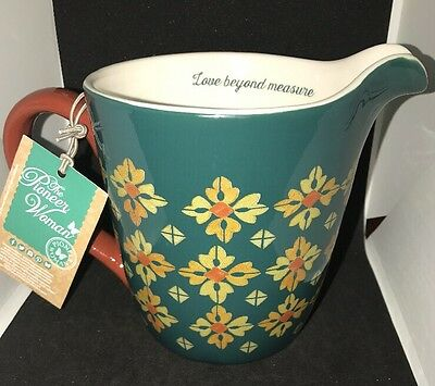 The Pioneer Woman 4 Cup Measuring Pitcher Stoneware Green Vintage Geo Quart