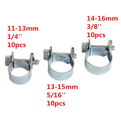 30pcs Assorted Fuel Injection Hose Clamp Car Pipe Tube Clamp 1/4in 5/16in 3/8in