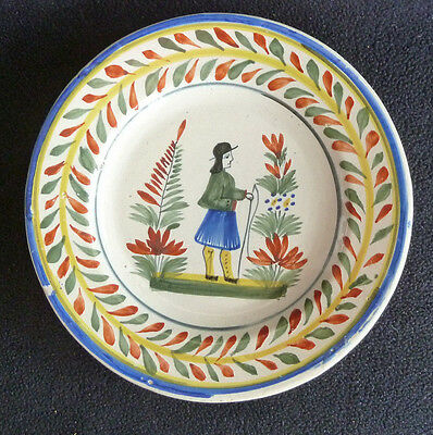 Vintage H. B. Henriot Quimper Pottery Plate  Decorative French Rustic