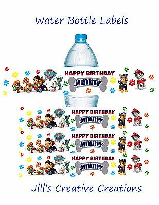 Paw patrol water bottle labels, Paw Patrol, Birthday, Water Bottle Labels