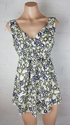 PEA IN A POD Sz 10 Floral Cotton TOP Womens Summer Lightweight Maternity Blue S