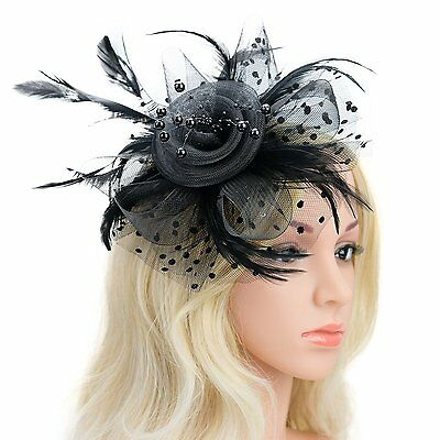 Tea Party Fascinator Derby Pillbox Hat for Women with Flower Feather Headband