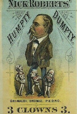 1870's Nick Roberts' Humpty Dumpty 3 Clowns Circus Original Big Poster Stamp F73