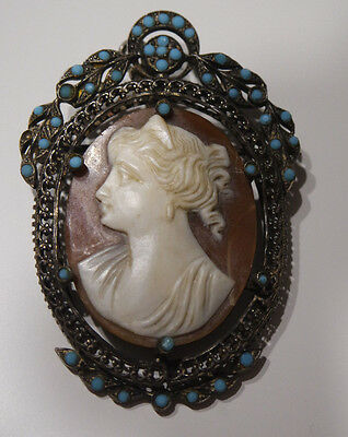 Vintage Antique Austro Hungarian Sterling Silver  Cameo Brooch/pendant