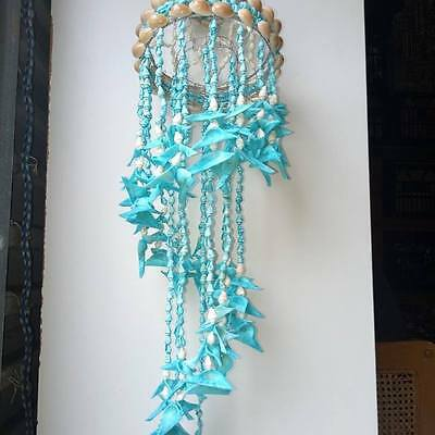 "32"" hanging chandelier. Blue seagle seashell. Beach home decor art gift hamptons"