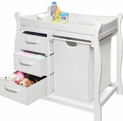 White Changing Table With Hamper And Three Storage Baskets Home Furniture