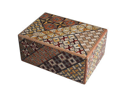 Wooden Mosaic Puzzle Box Requiring 10 steps to be opened, Japanese craftsmanship