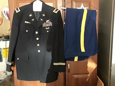 Army Dress Blues Uniform Set ASU With Patches and Pins