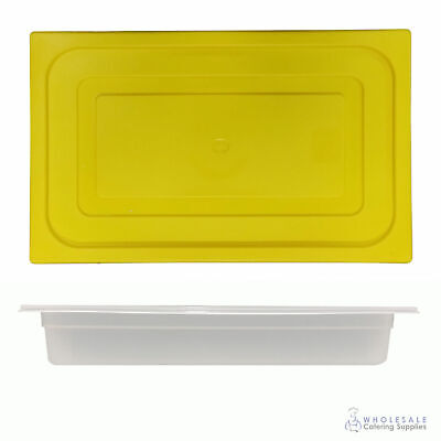 12x Food Pan with Yellow Lid 1/1 GN 65mm Full Size Polypropylene Gastronorm