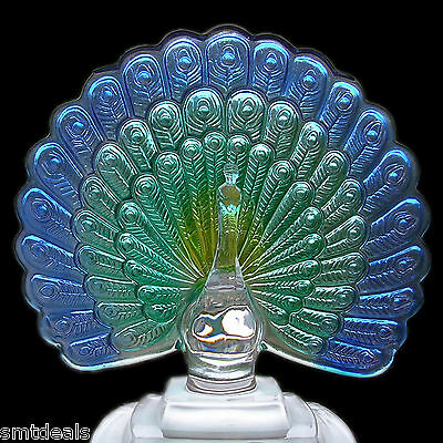 Cristal D'Arques Colourful Peacock - Genuine Lead Crystal French 8 x 6 3/4 Inchs