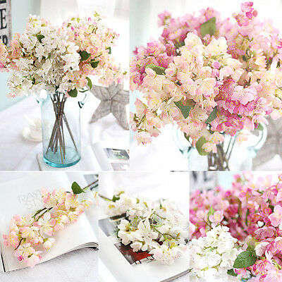 White Fake Silk Artificial Gypsophila Flowers Bouquet Wedding Party Home Decor N